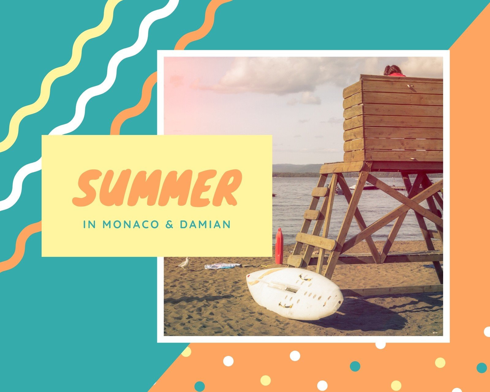 Orange Blue Yellow Funky Summer Scrapbook