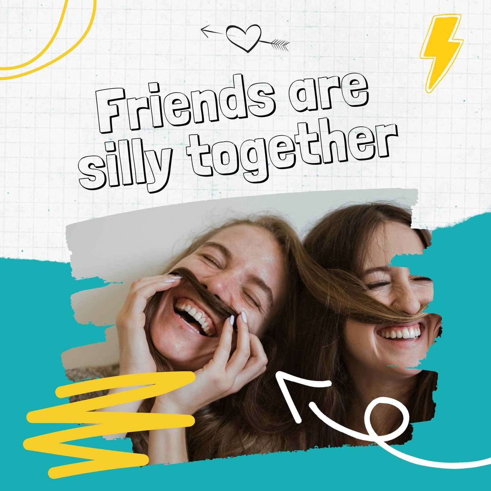 Teal and Yellow Funny Friends Animated Social Media Graphic
