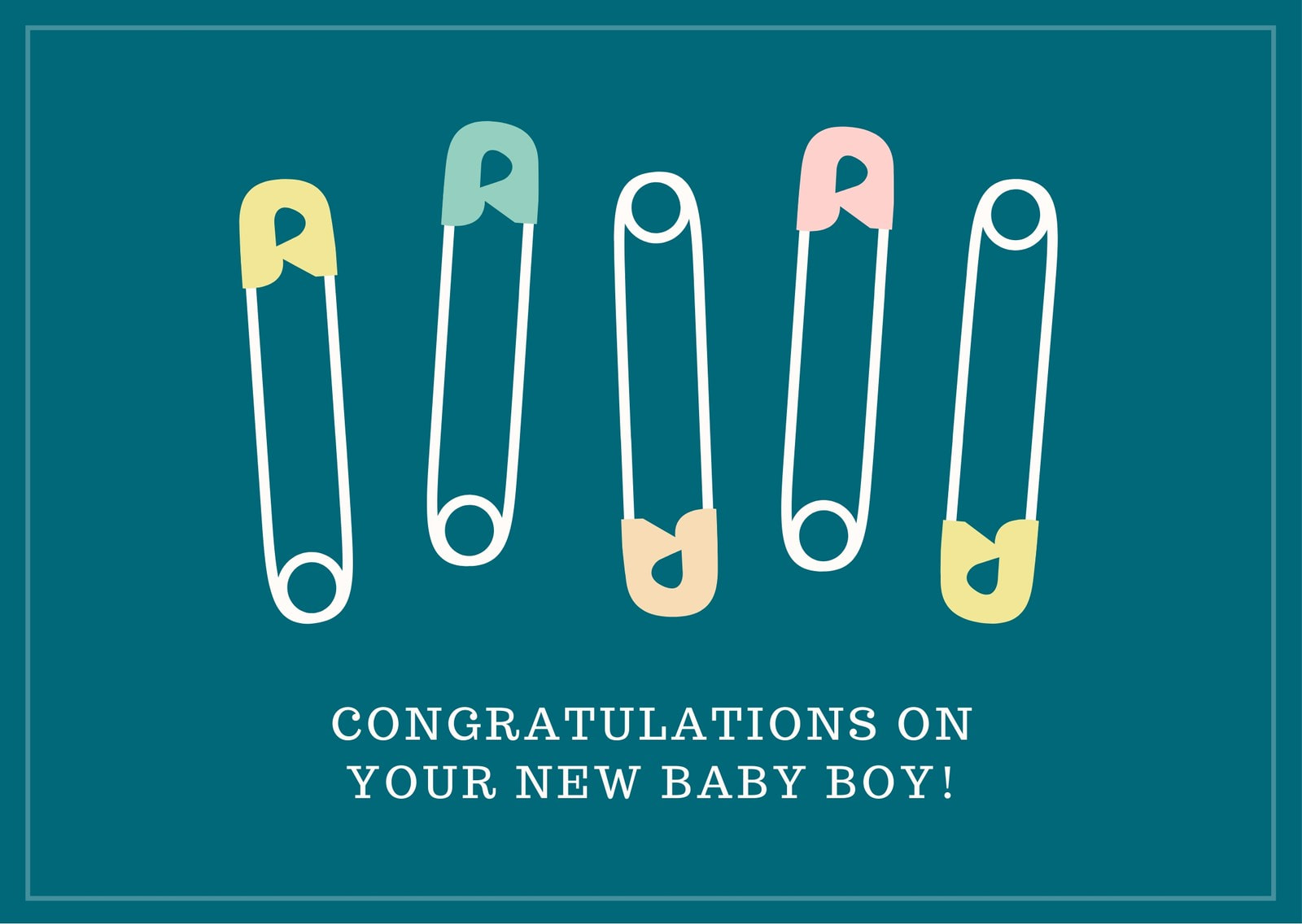 Safety Pin Baby Shower Card