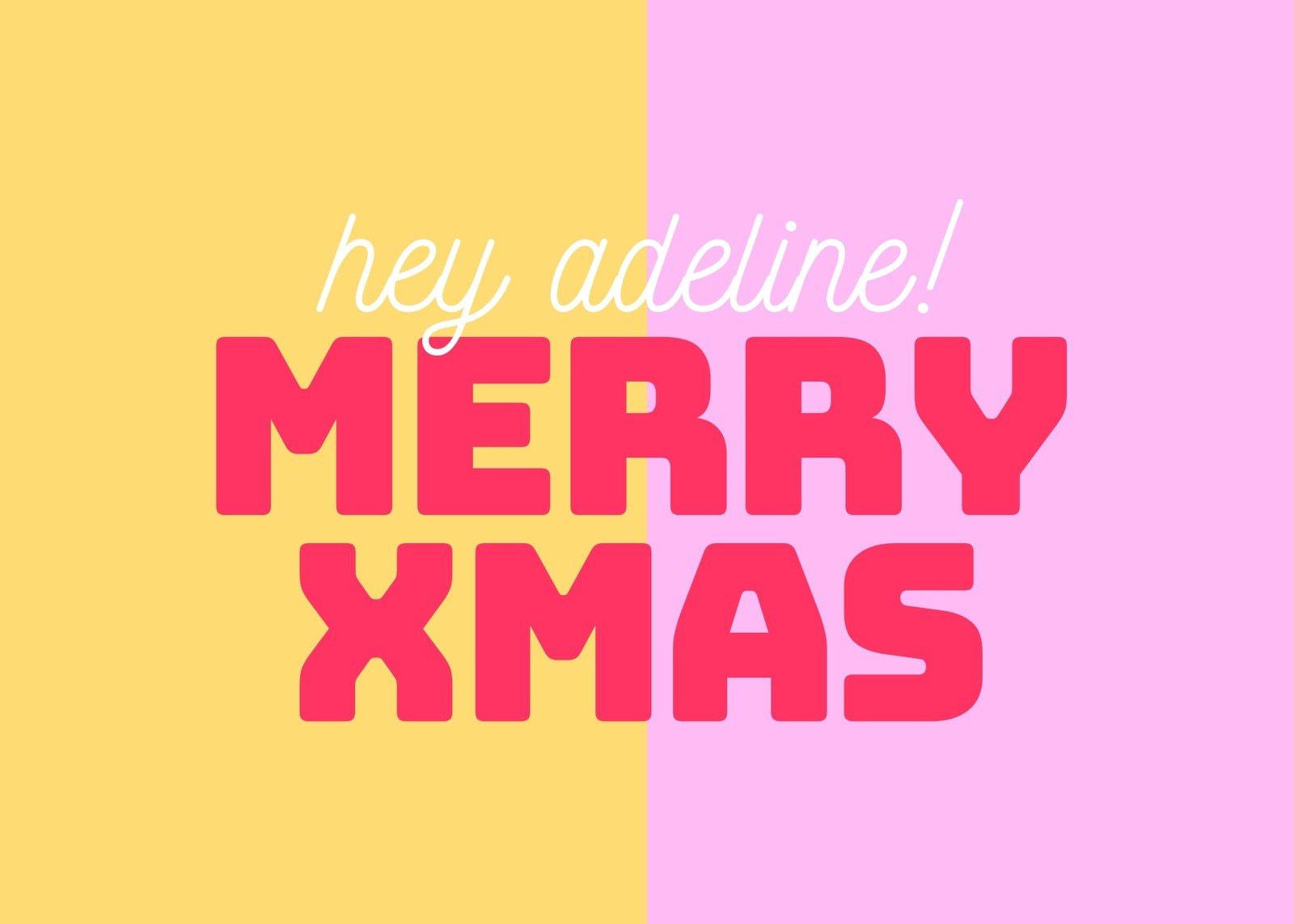 Pink & Yellow Christmas Card