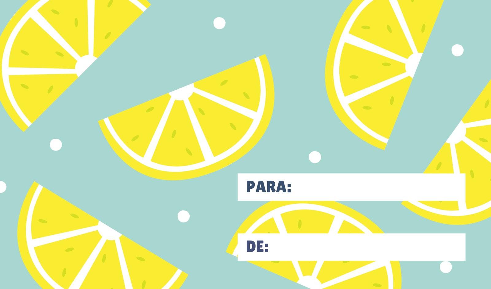 Azul Amarillo Limón Estampado Regalo Etiqueta