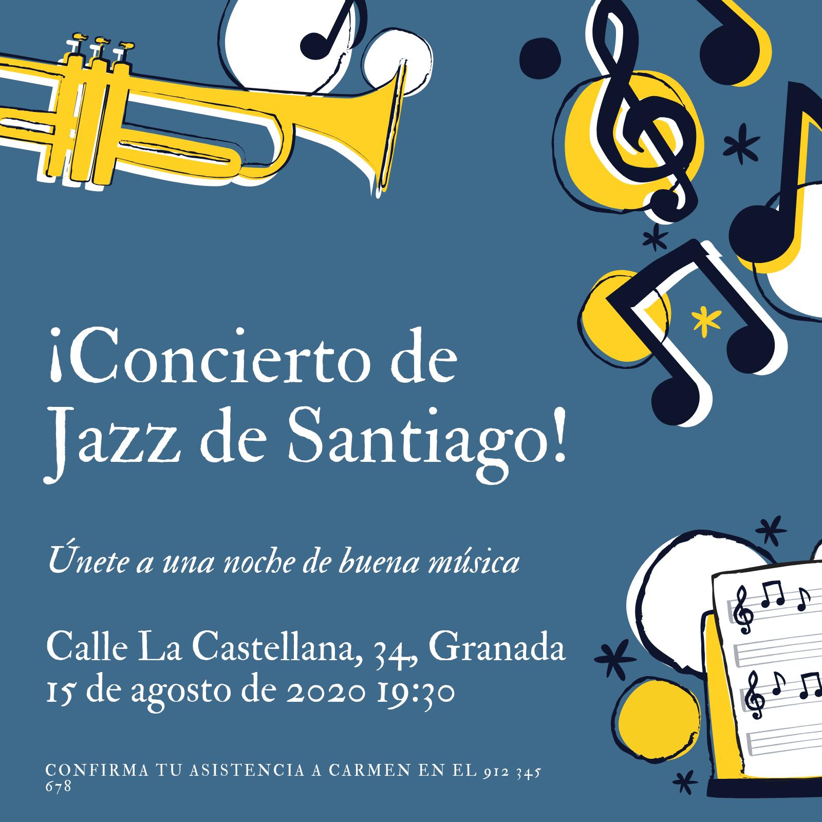 Azul y Amarillo Jazz Fiesta de Años 20 Invitación