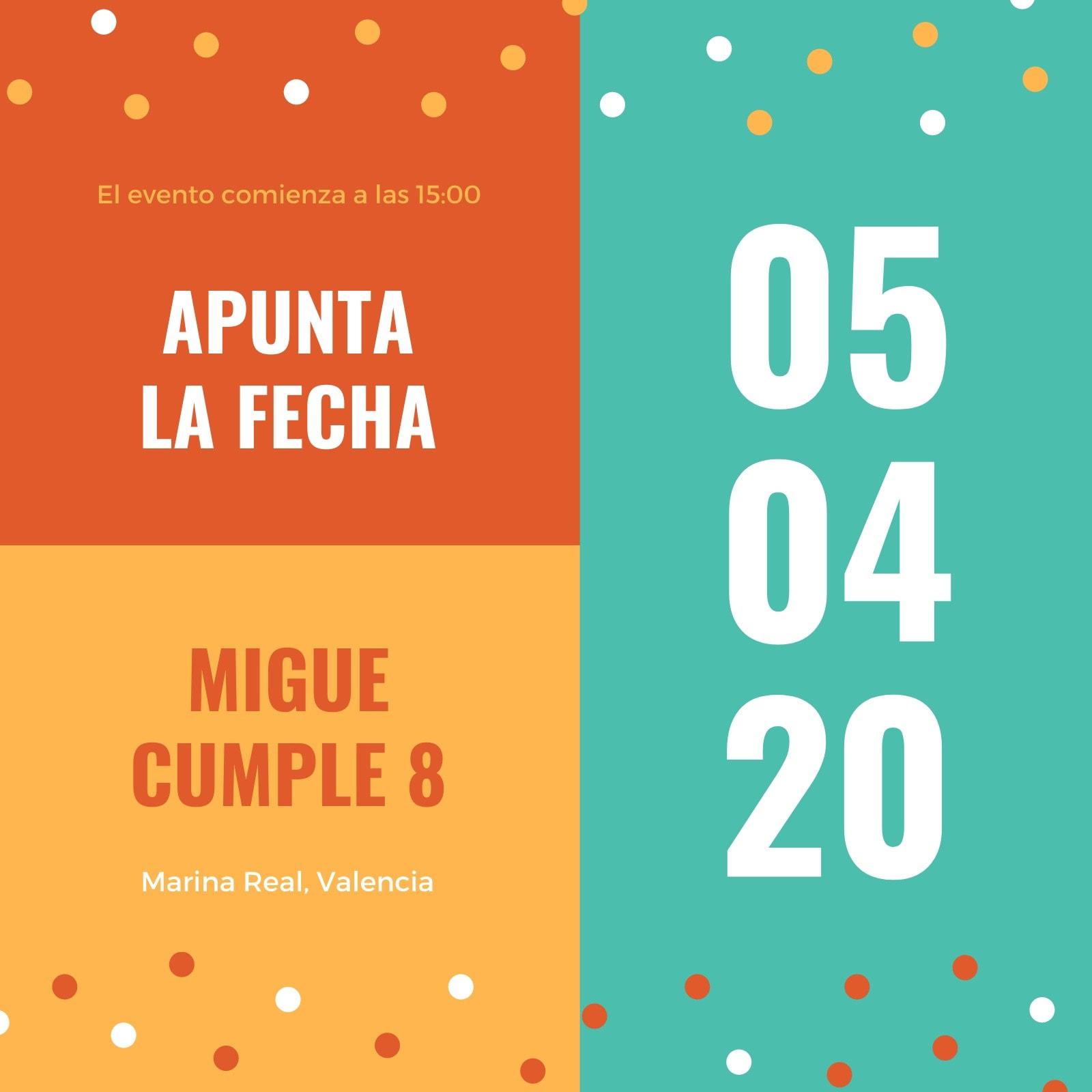 Naranja Verde Bonito Cumpleaños Apunta la Fecha Cumpleaños Invitación