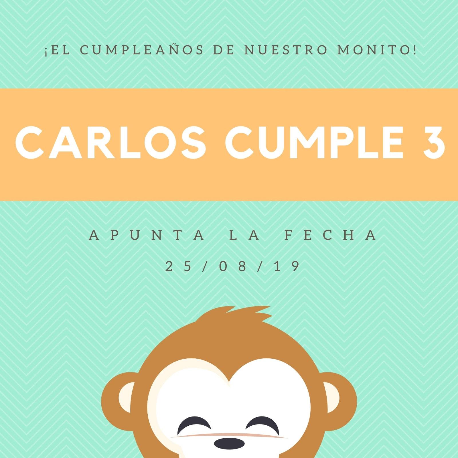 Invitación Cumpleaños Apunta la Fecha Mono Verde y Naranja