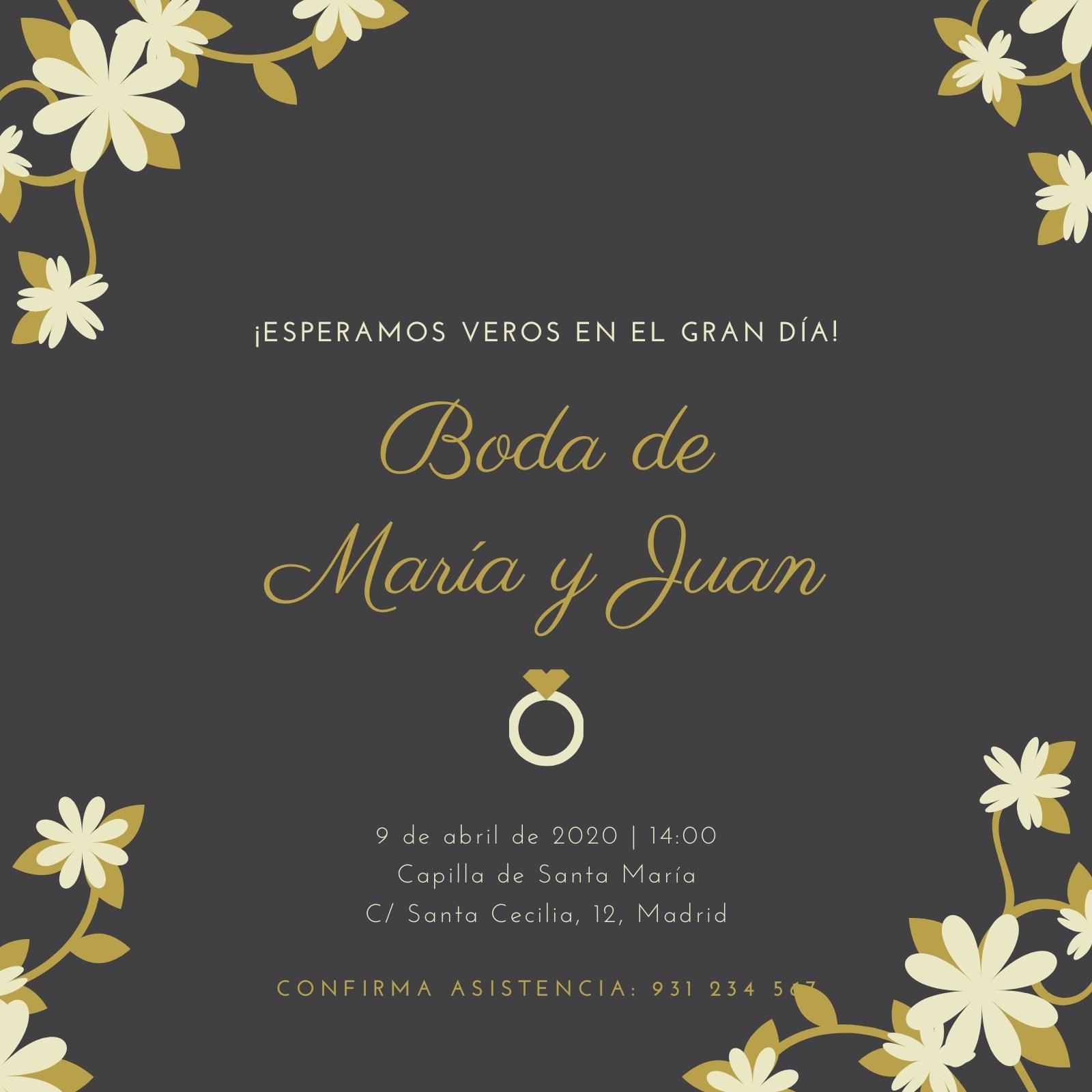 Negro Dorado Floral Anillo Alianza Apunta la Fecha Invitación