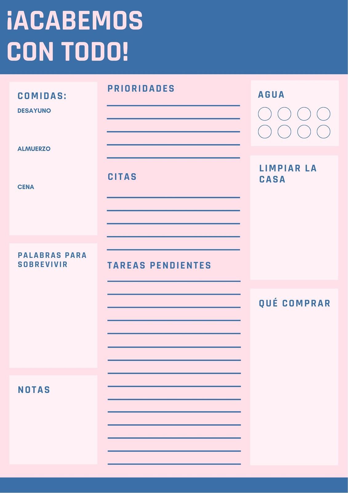 Rosa Azul Sencillo Diario Planificador