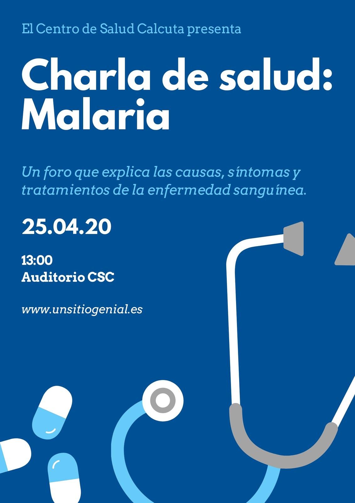 Azul Blanco Salud Iconos Día Mundial de la Malaria Póster