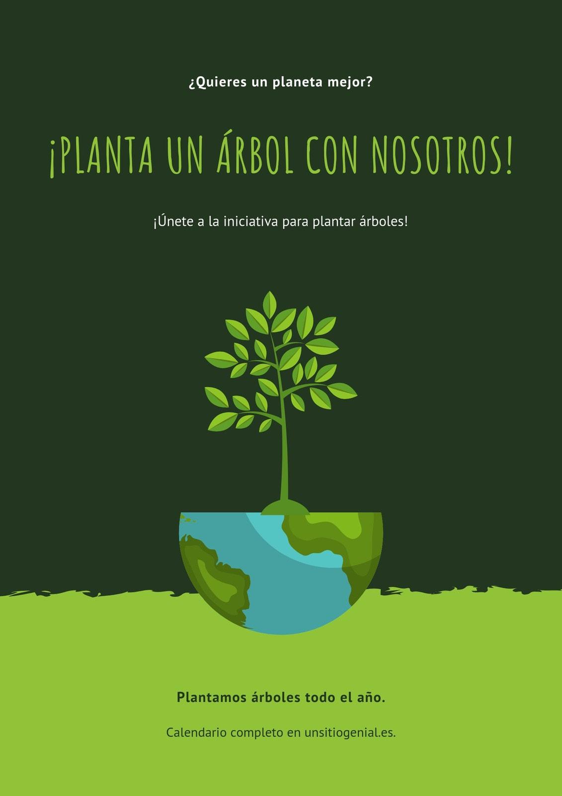 Verde Ilustración Protección Medioambiental Póster