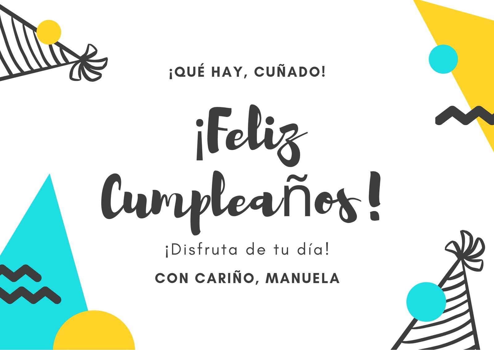 Amarillo Turquesa Cumpleaños de Cuñado Tarjeta