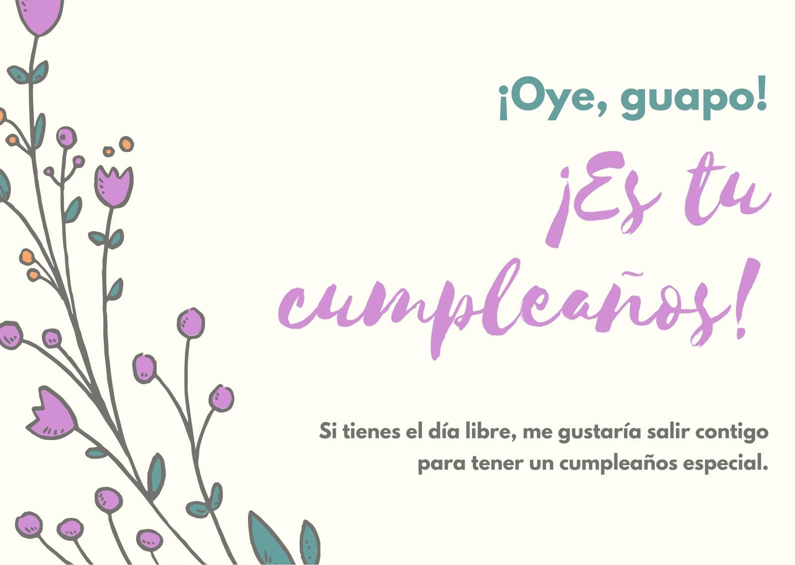 Crema Floral Novia Bonito Cumpleaños Tarjeta