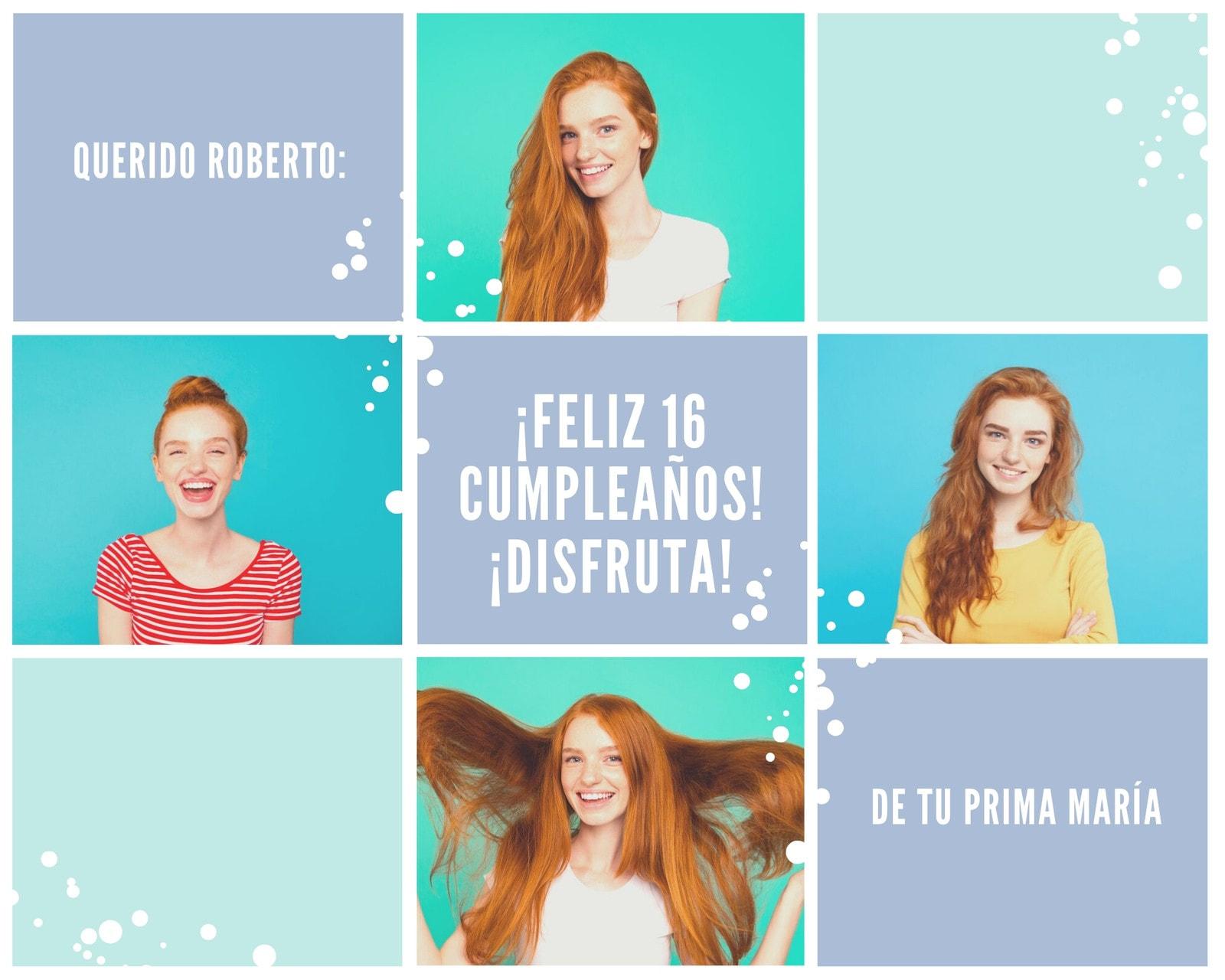 Morado Verde Azul Blanco Mujer Nieve Cumpleaños Foto Collage