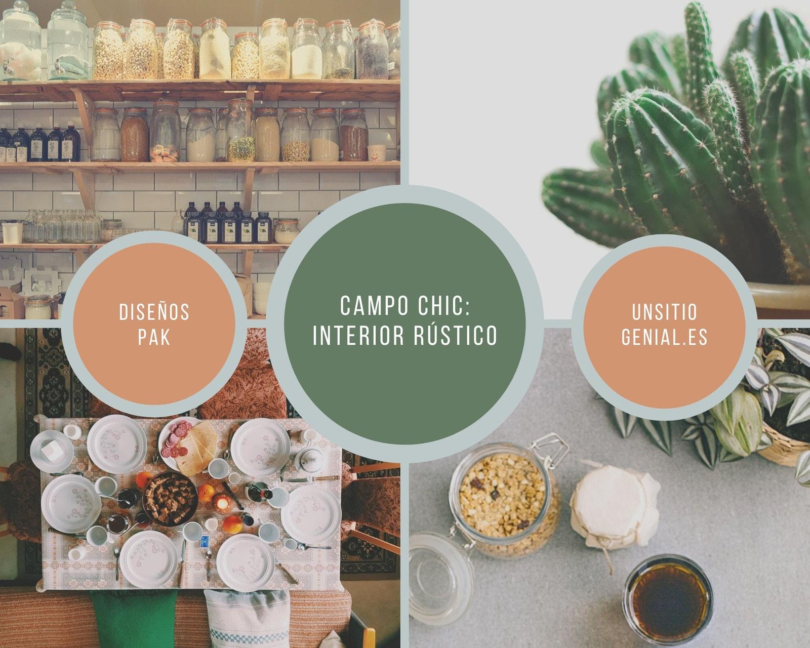 Marrón Verde Gris Círculo Rústico Suculento Interior Color Paleta Foto Collage