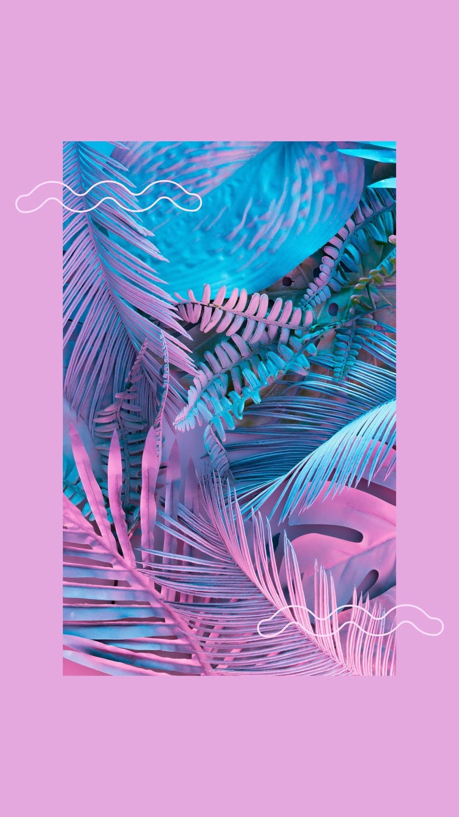 Purple Neon Palms Phone Wallpaper