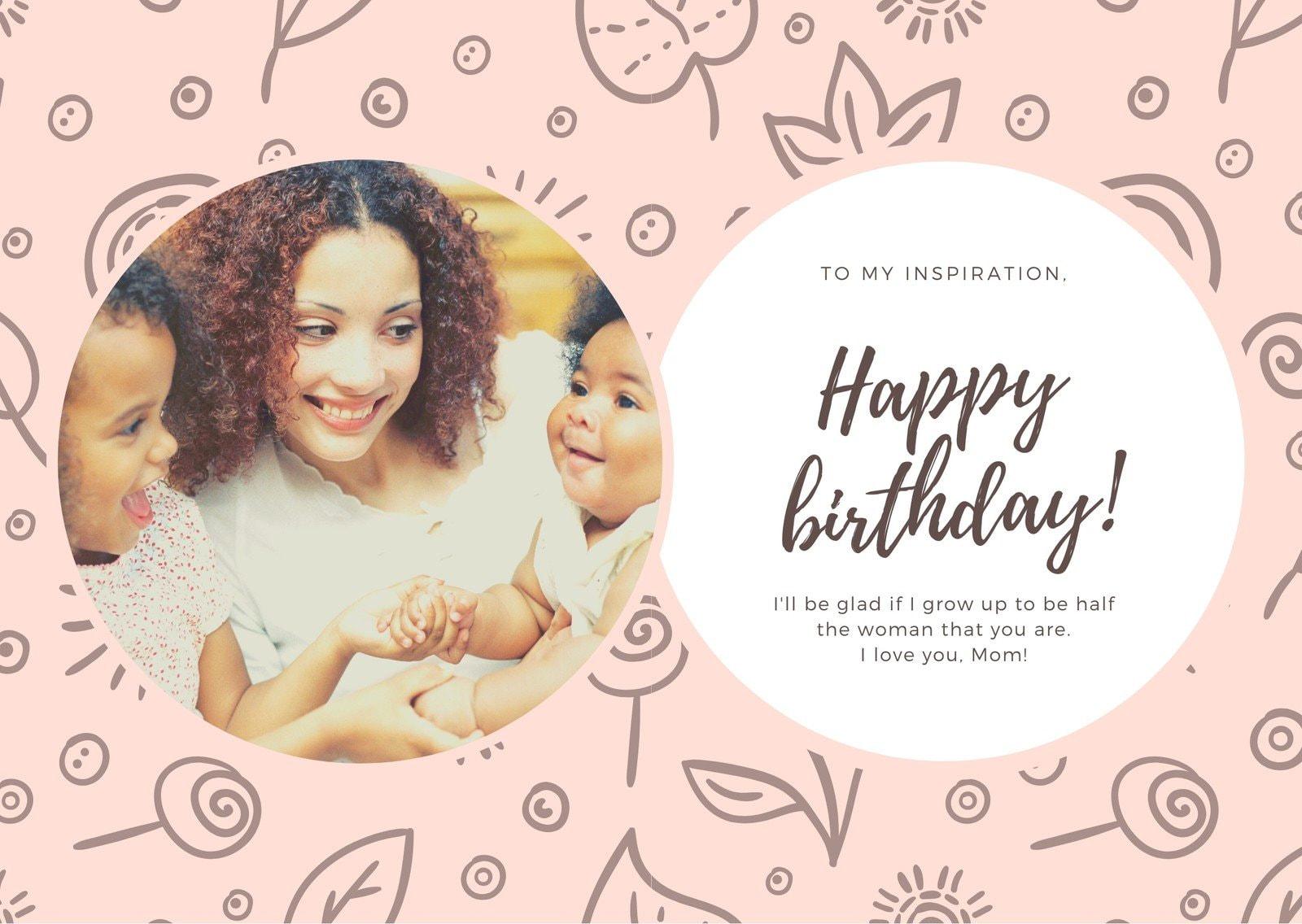 Peach Brown Floral Mom Birthday Card