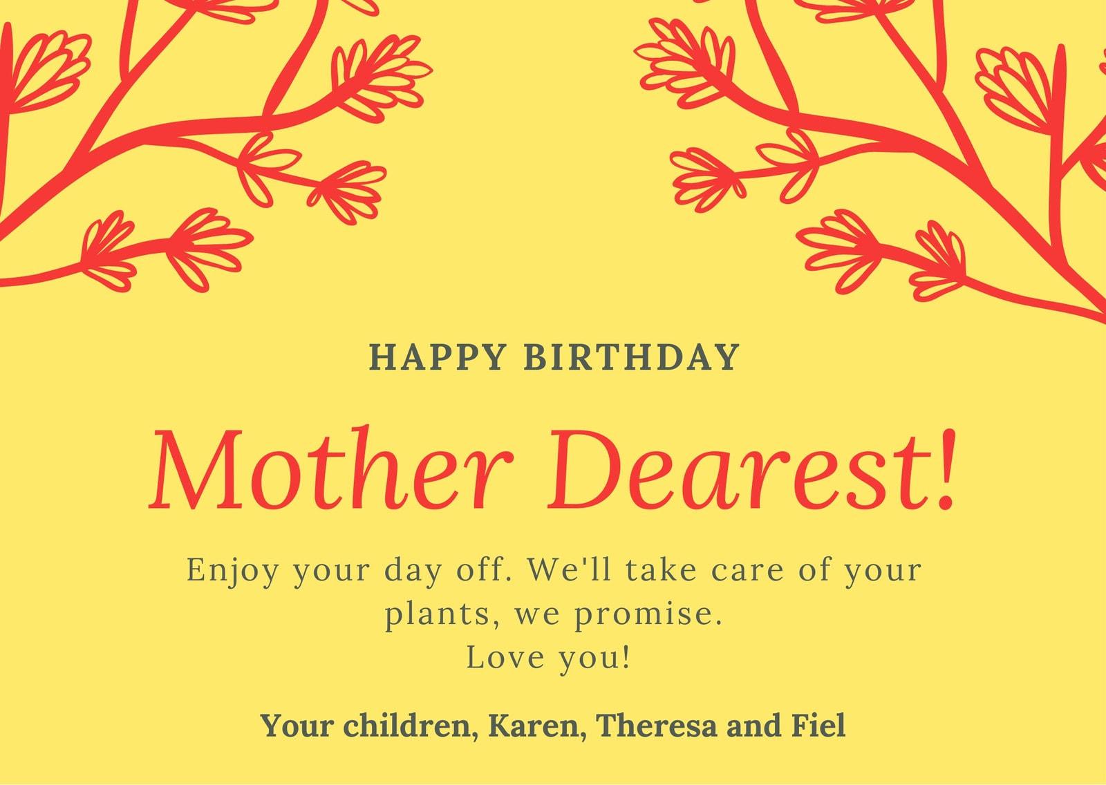 Yellow Orange Mom Birthday Card