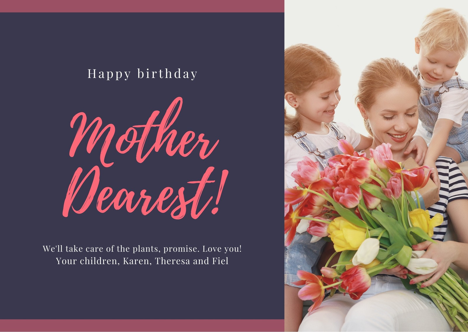 Pink and Purple Lines Photo Mom Birthday Card