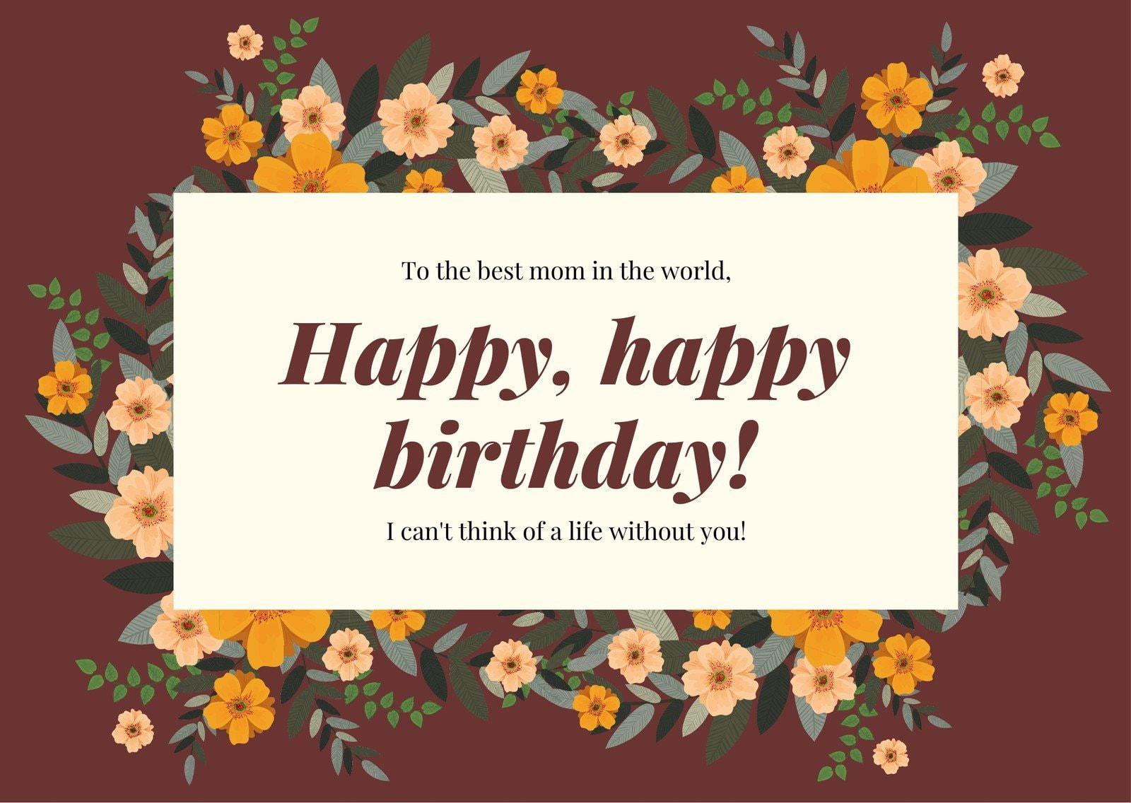Maroon Simple Mom Birthday Card