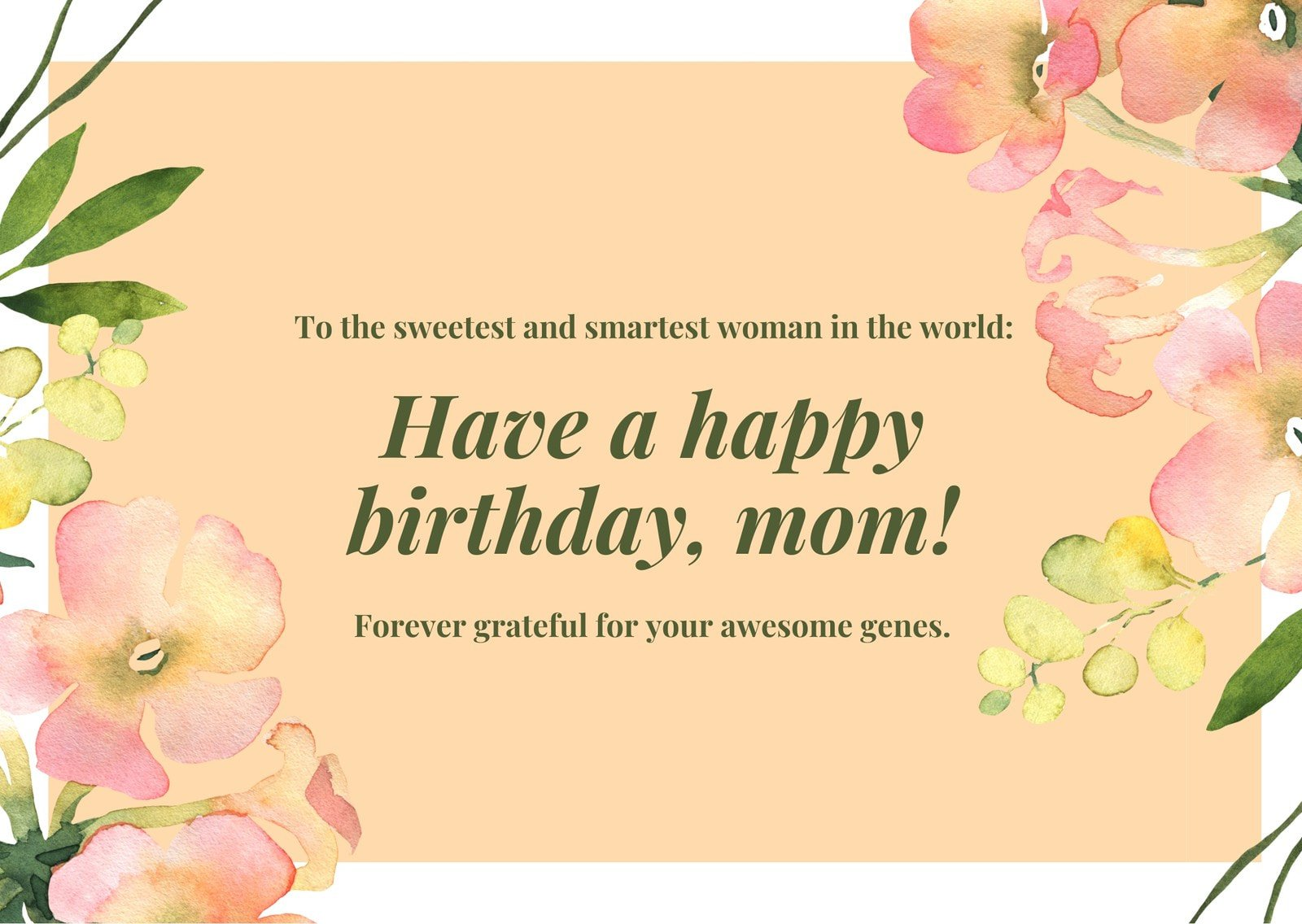 Pink Green Floral Mother Birthday Card