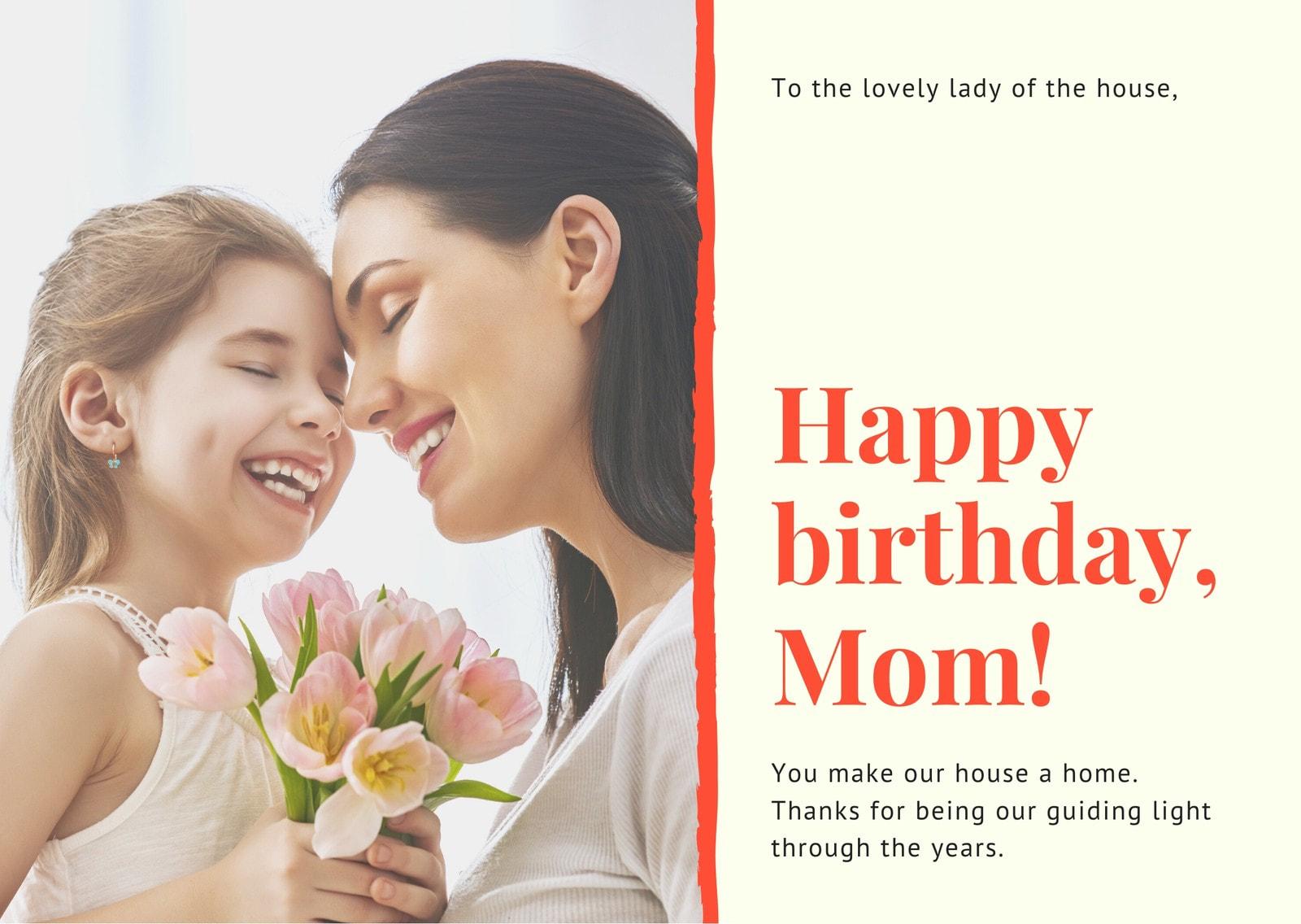 Cream and Orange Photo Mom Birthday Card