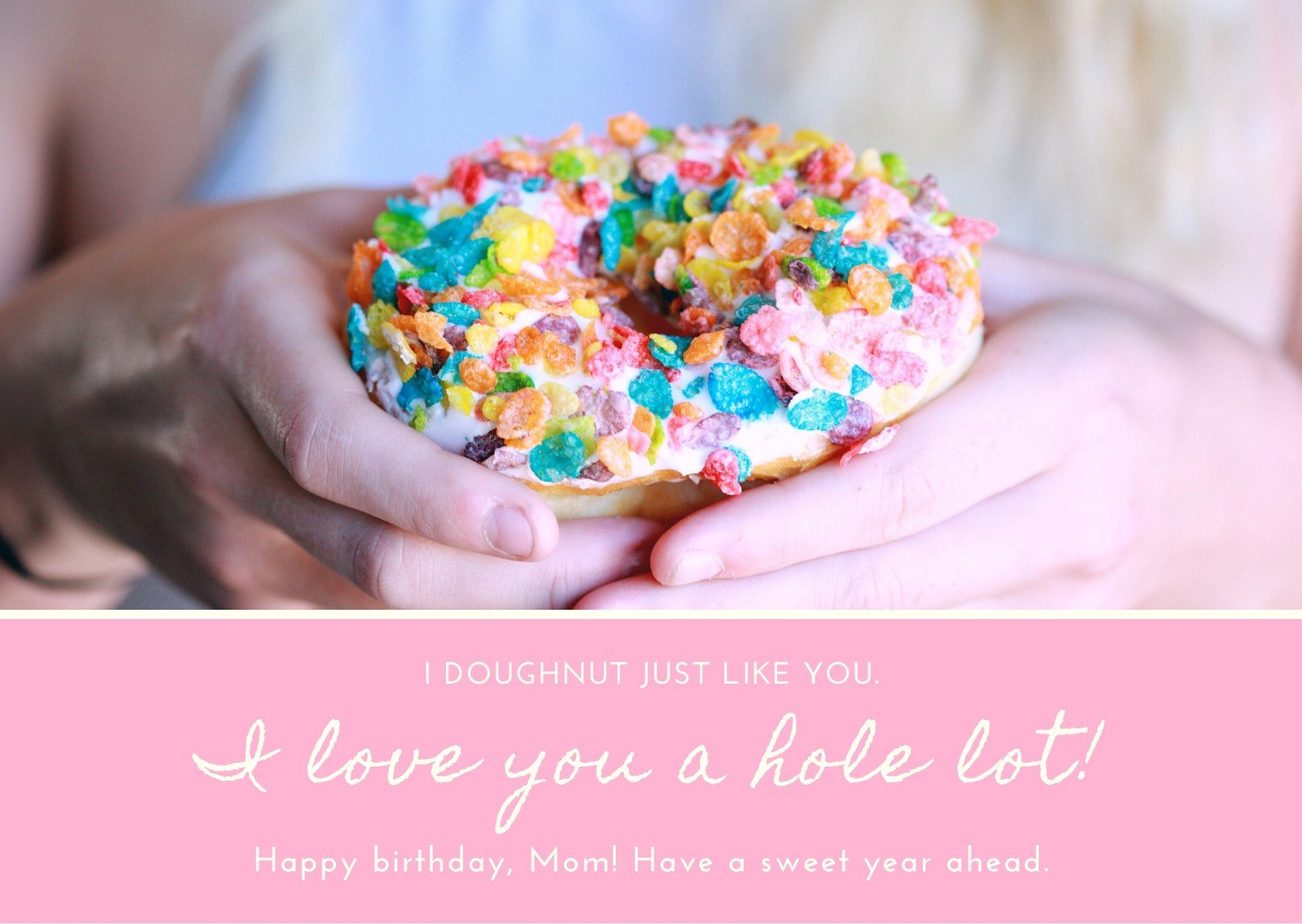 Pink Colorful Donut Photo Mom's Birthday Card
