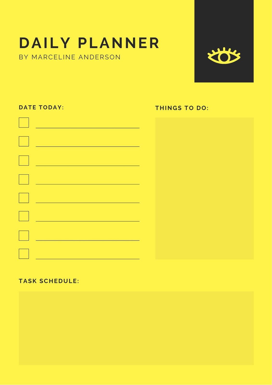 Yellow Minimalist Daily Planner