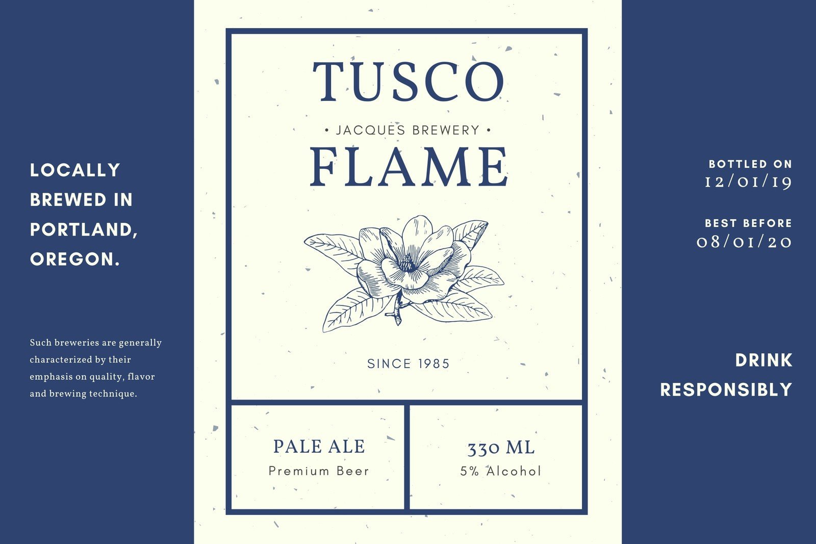 Blue Vintage Illustrated Beer Label