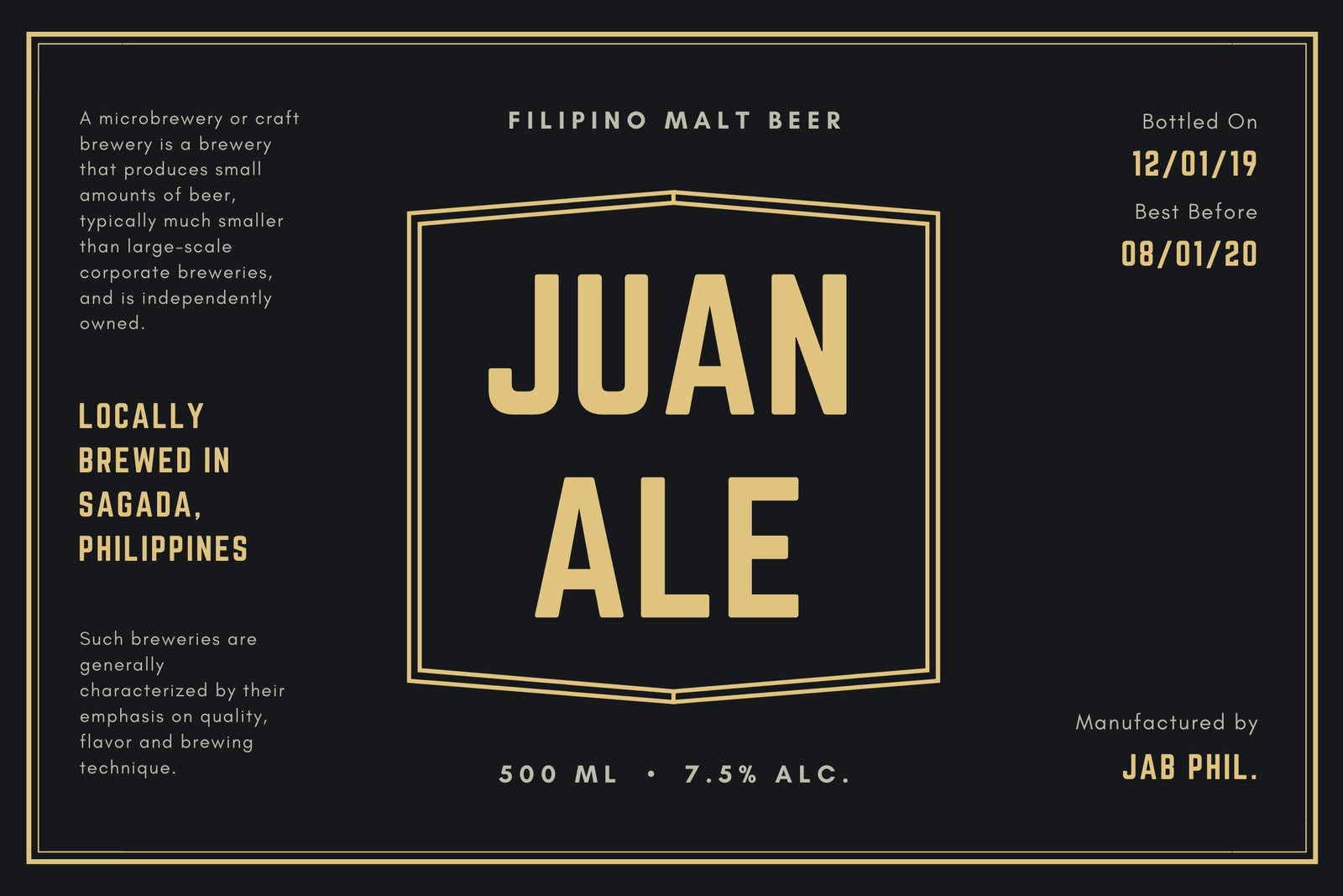 Black and Gold Classic Minimalist Bordered Beer Label