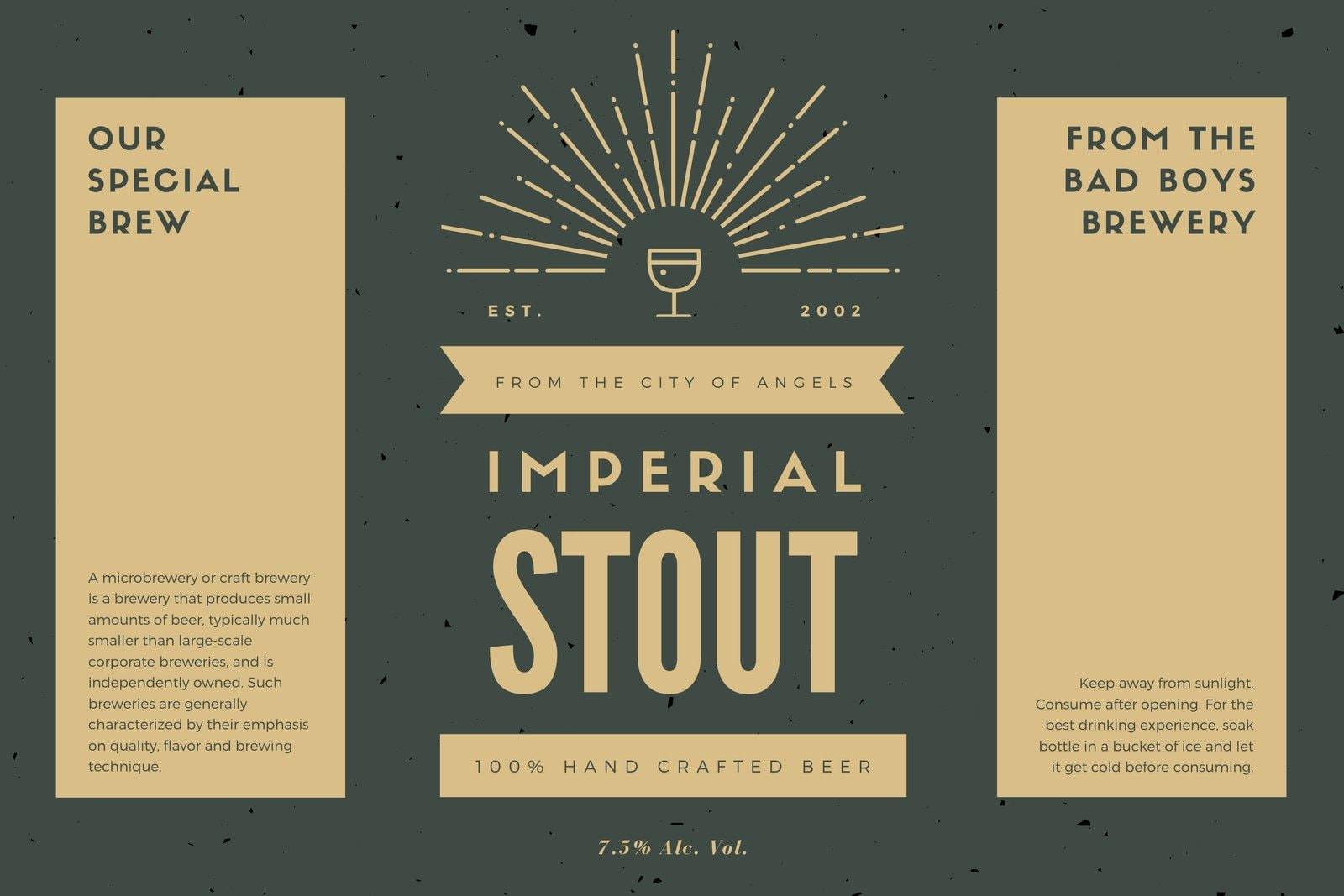 Charcoal and Gray Rustic Beer Label