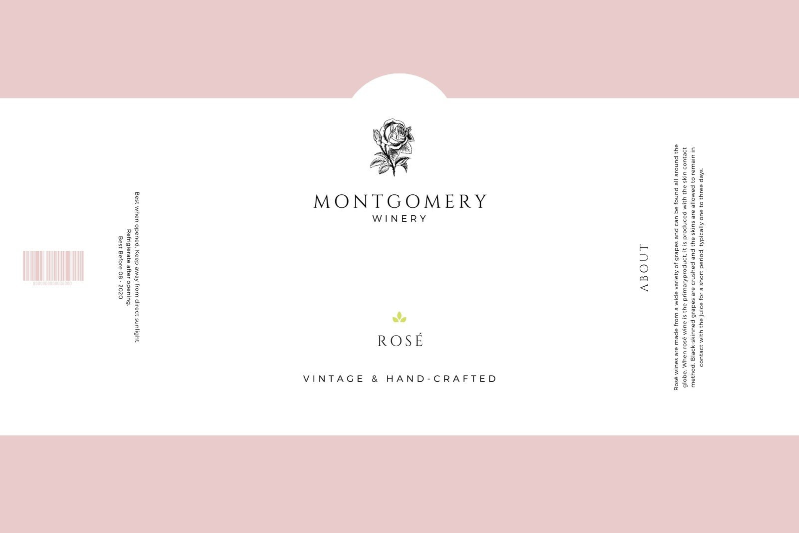 Pale Pink & White Minimalist Simple Elegant Wine Bottle Label