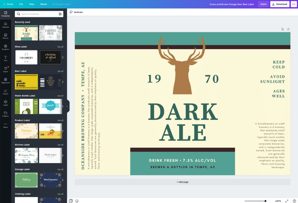 How to make a beer label - Canva