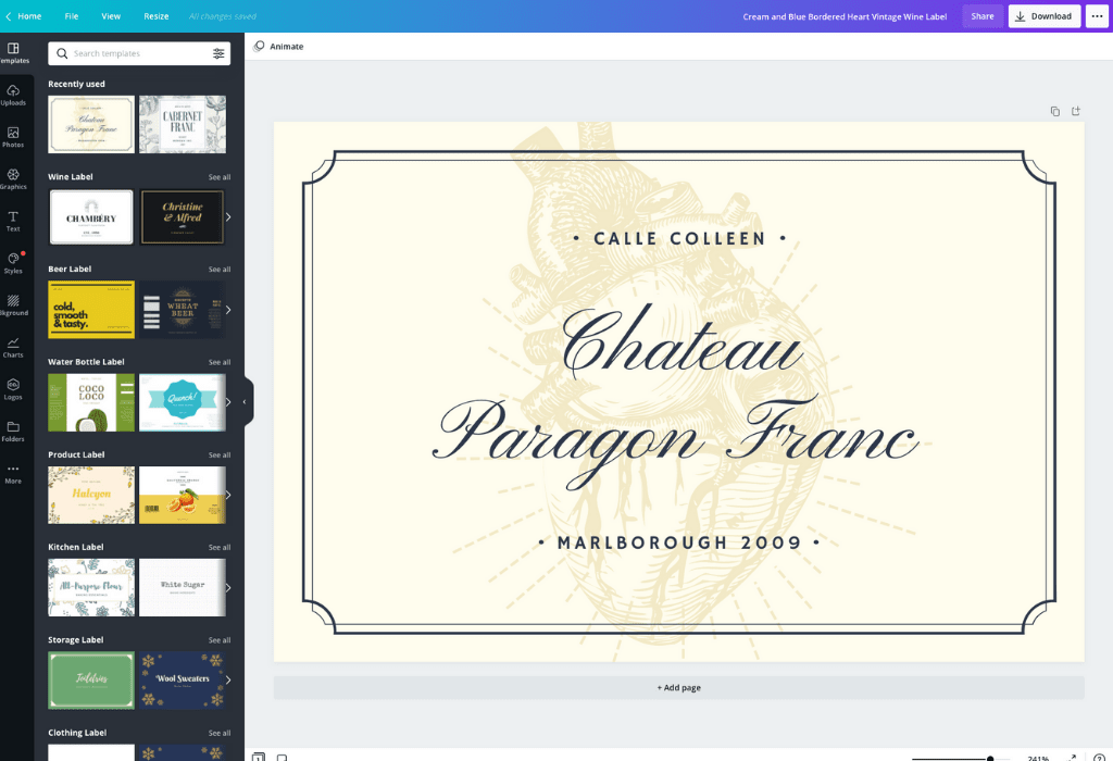 How to make a wine label - Canva