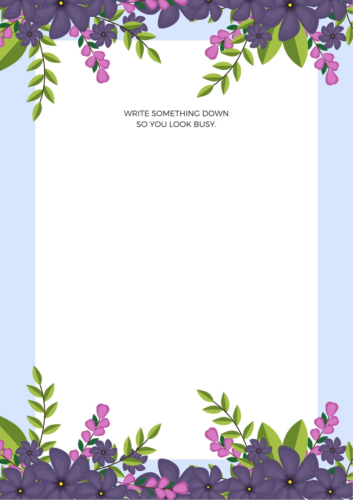 Lilac and White Floral Memo