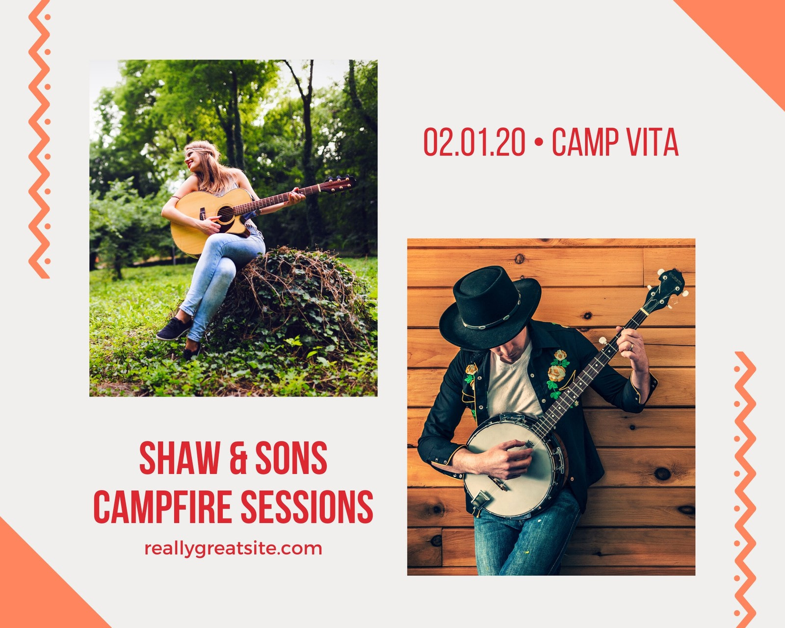 Orange Sessions Music Photo Collage