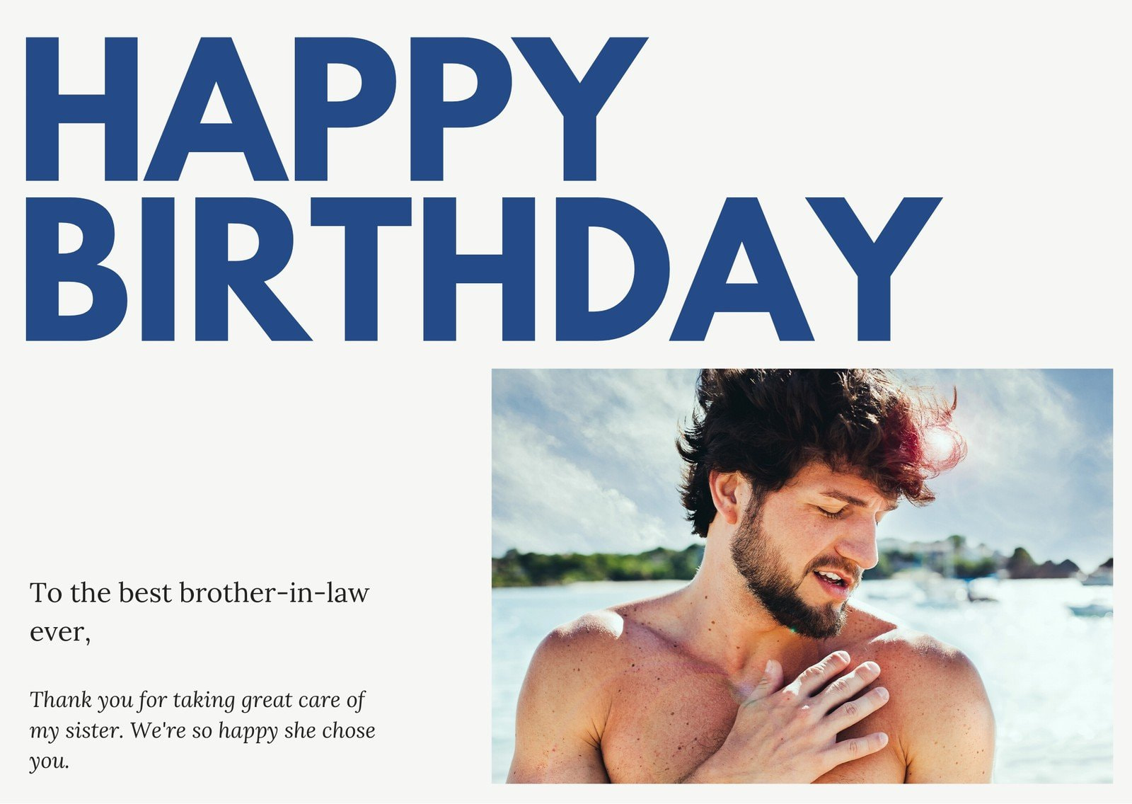 Blue Bold Brother-in-Law Birthday Card