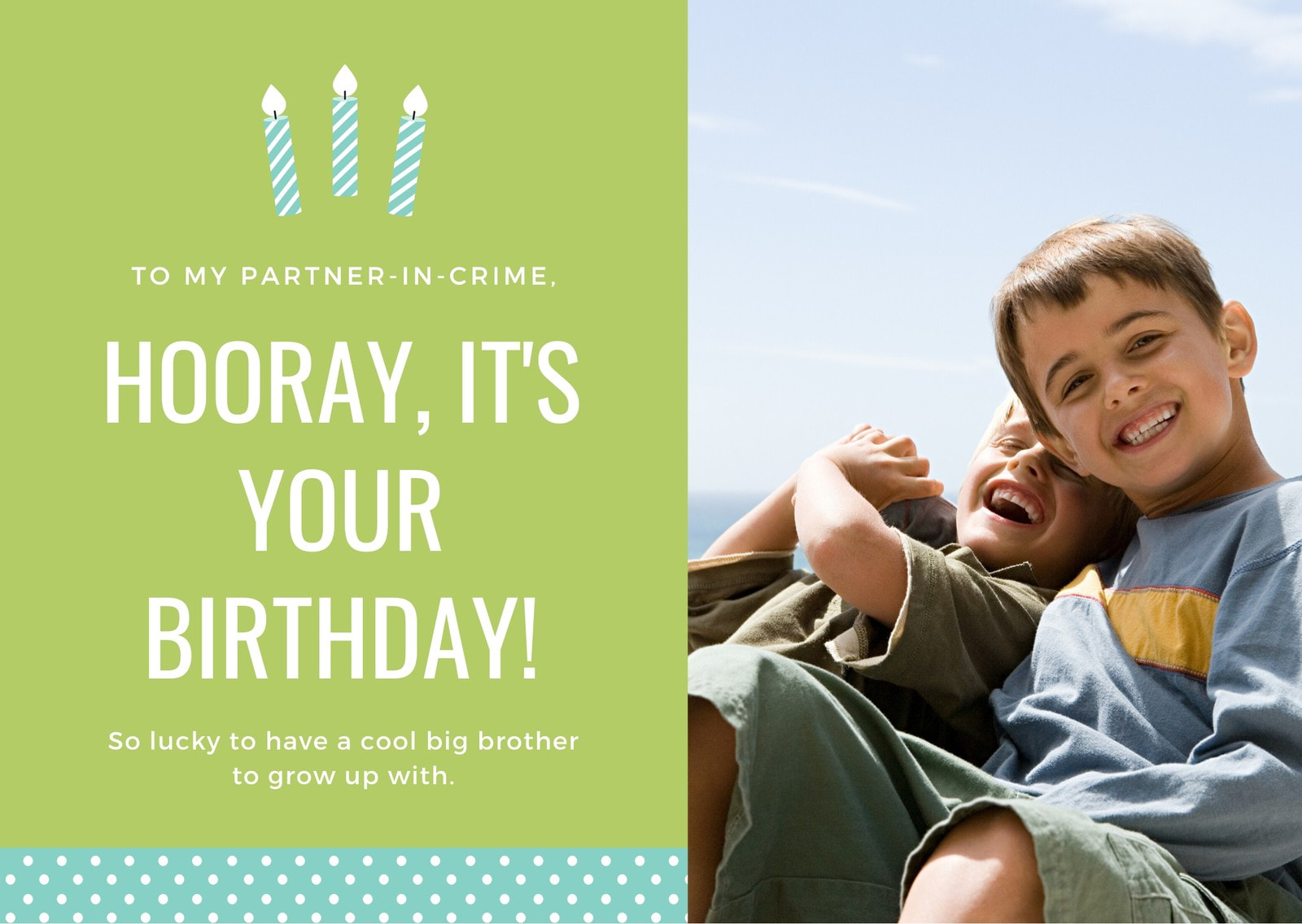 Green Candle Polkadots Photo Brother Birthday Card