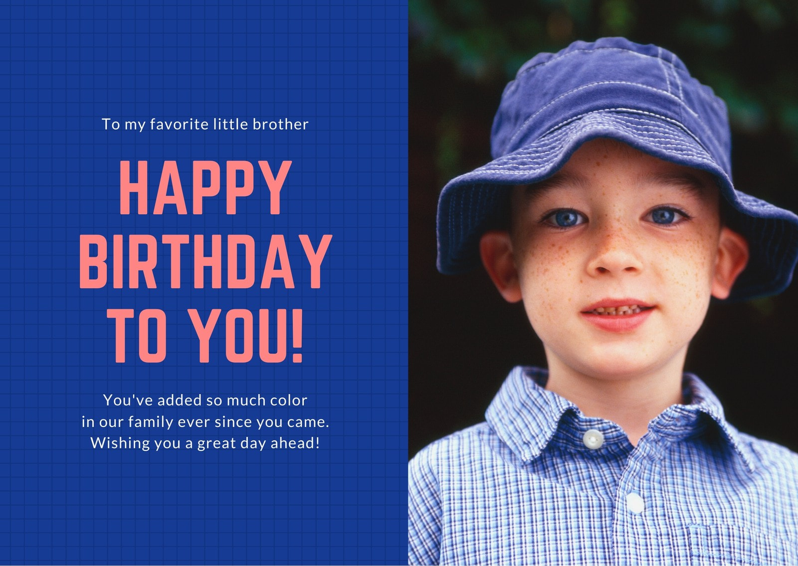 Blue and Red Photo Brother Birthday Card