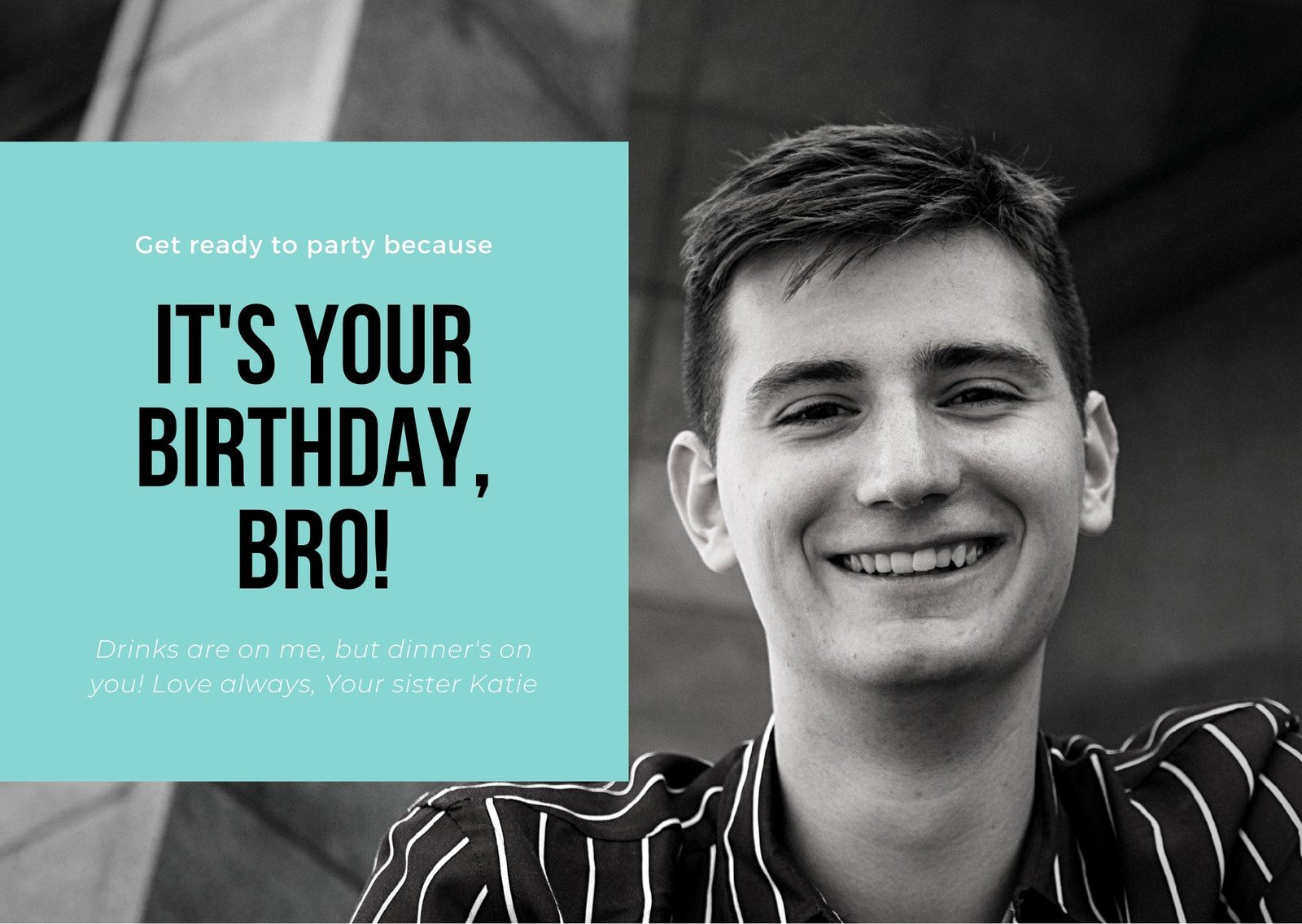 Teal Black and White Brother Birthday Card
