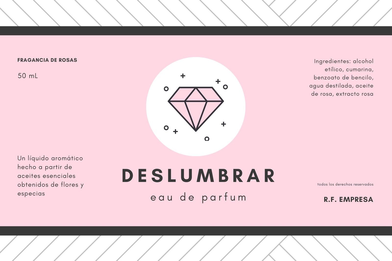 Rosa Blanco Negro Diamante Perfume Producto Etiqueta