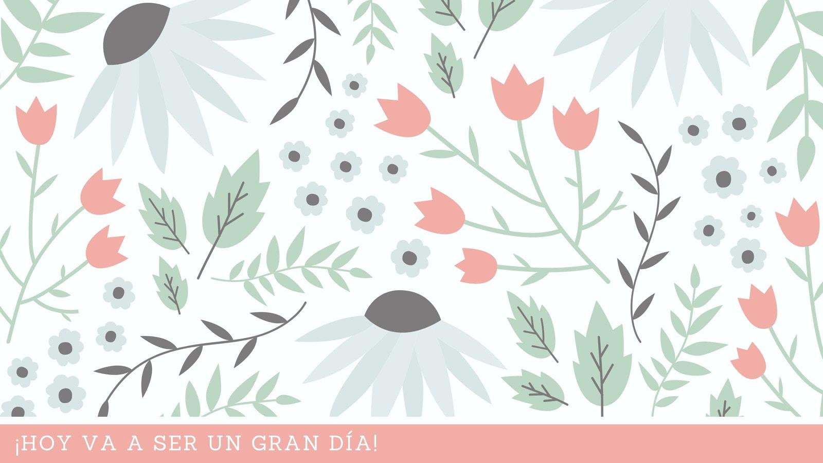 Rosa Verde Pastel Flores Hojas Ilustración Creativo Fondo de Pantalla