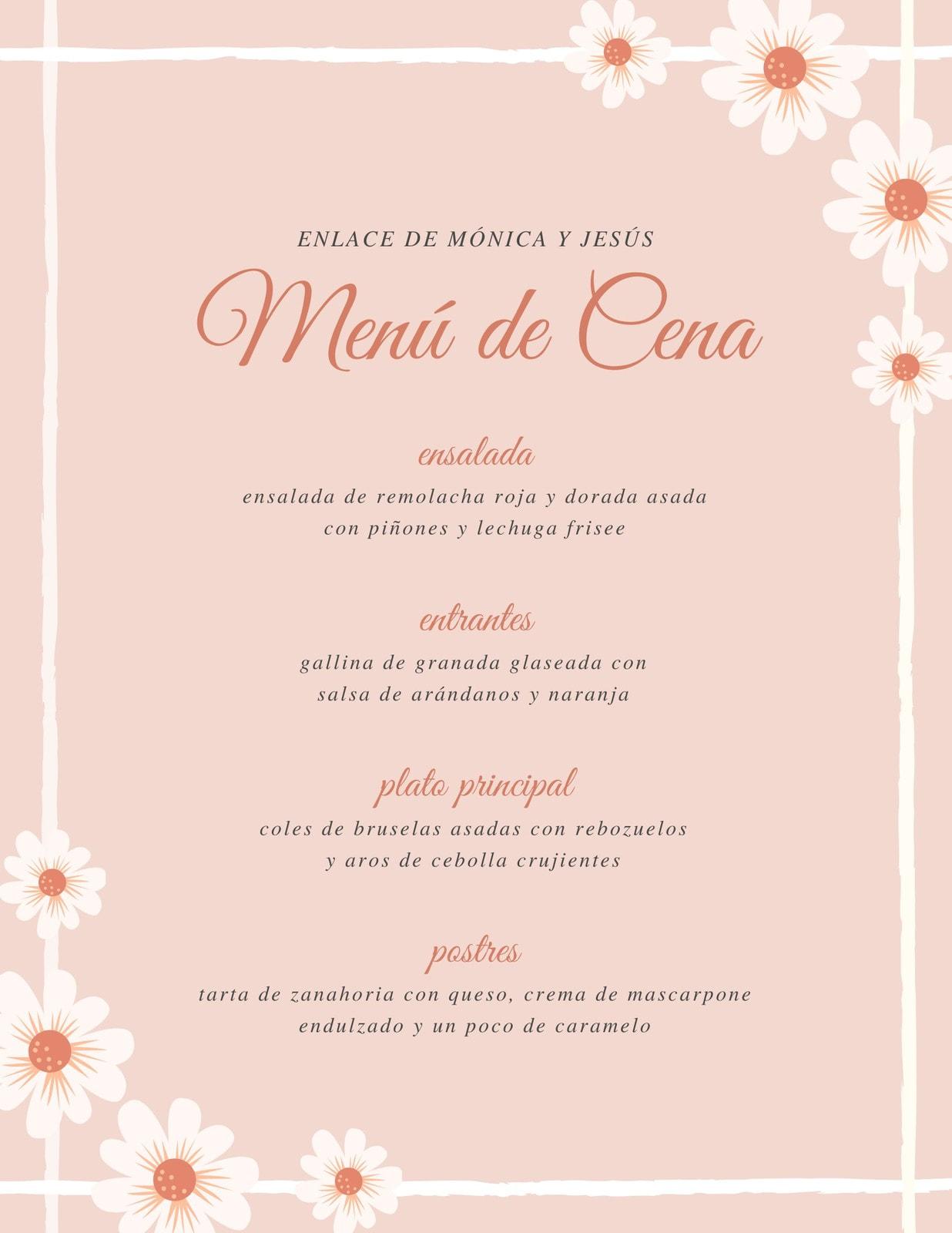 Naranja Melocotón Floral Borde Marco Boda Menú