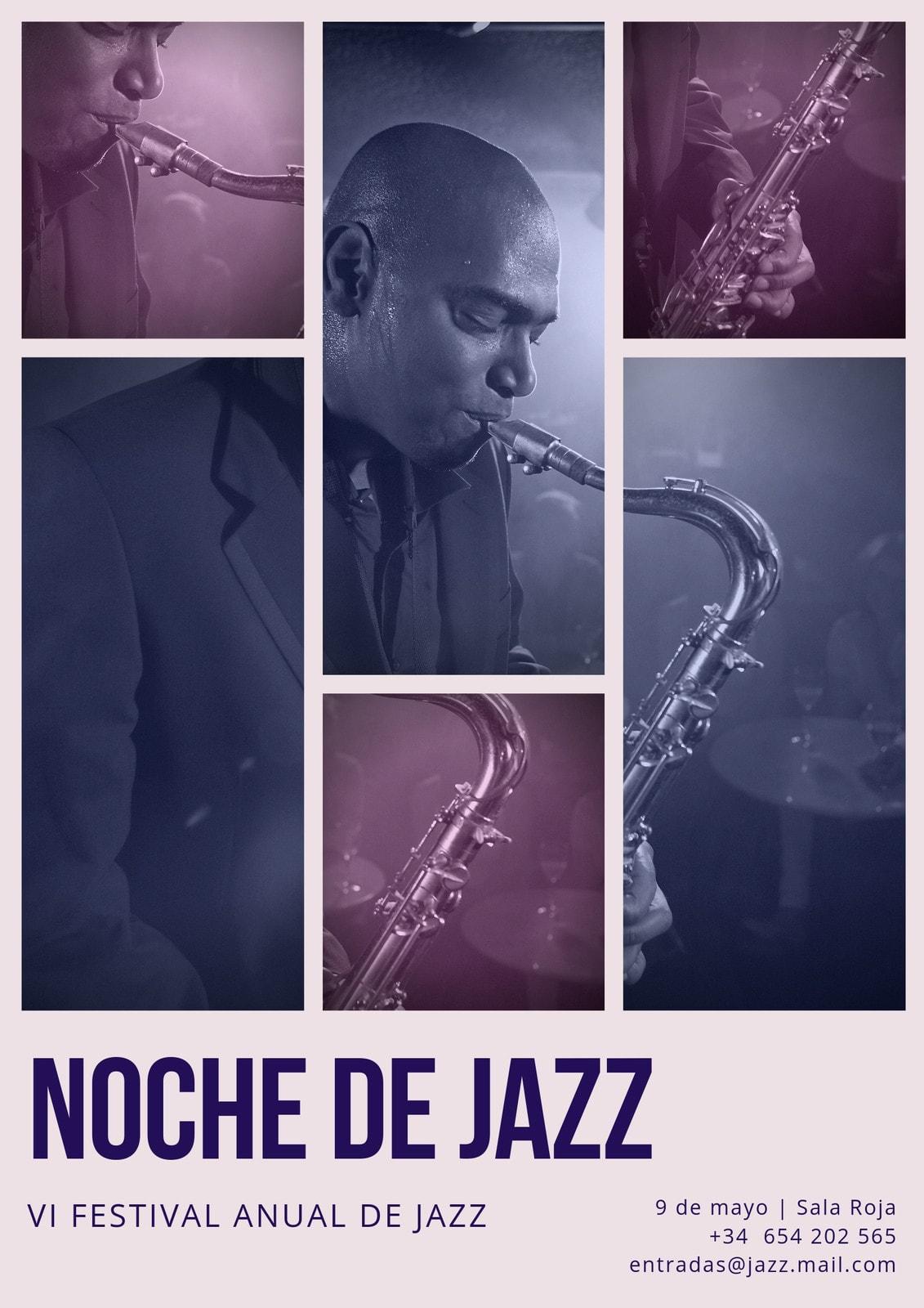 Póster Collage Fotográfico Jazz Crema y Morado