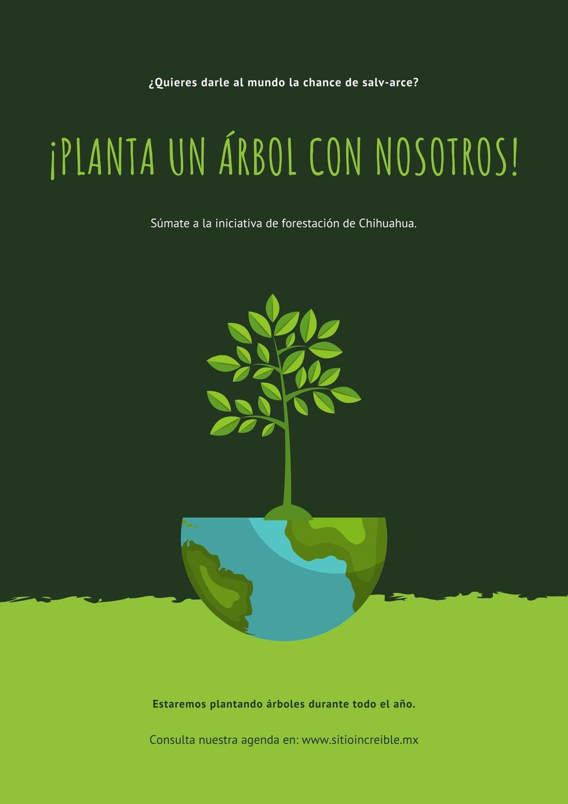 Verde ilustración ambiental protección póster