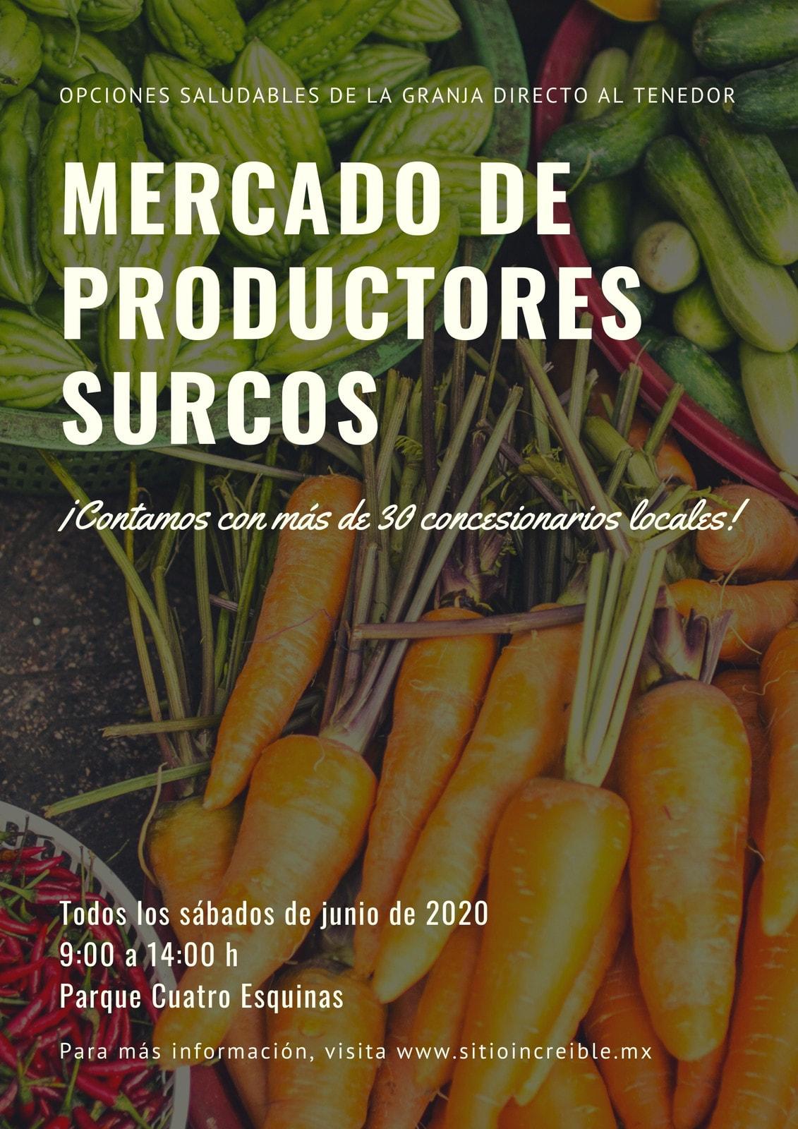 Blanco Foto de Verduras Mercado de Productores Póster