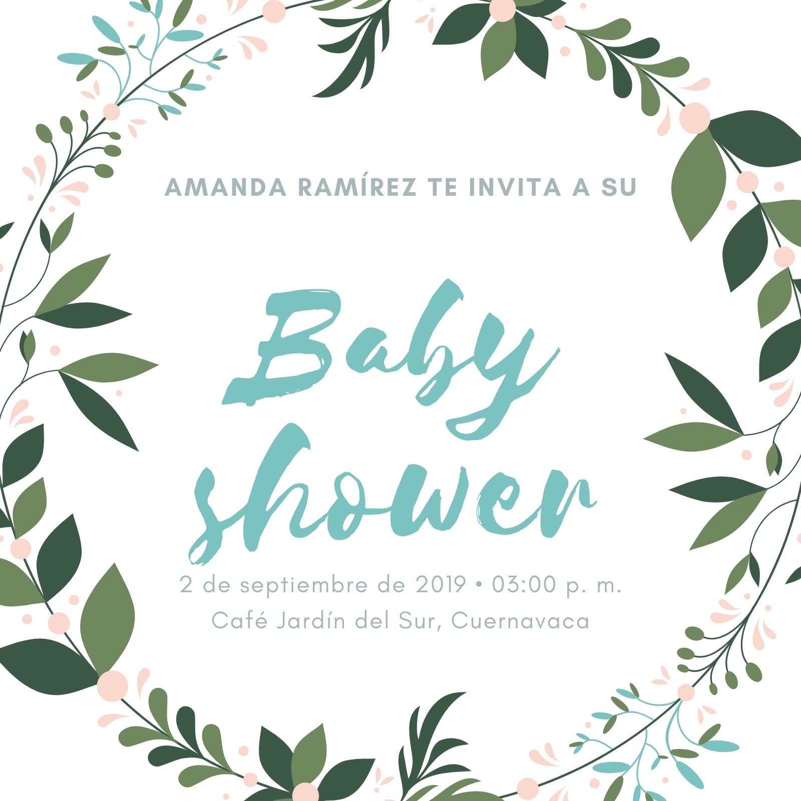 Menta Corona Baby Shower Invitación