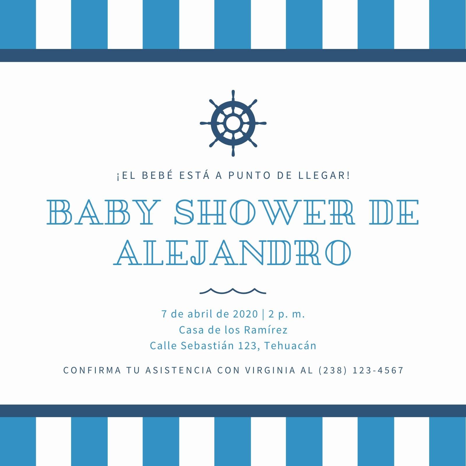 Azul Rayas Náutico Baby Shower Invitación