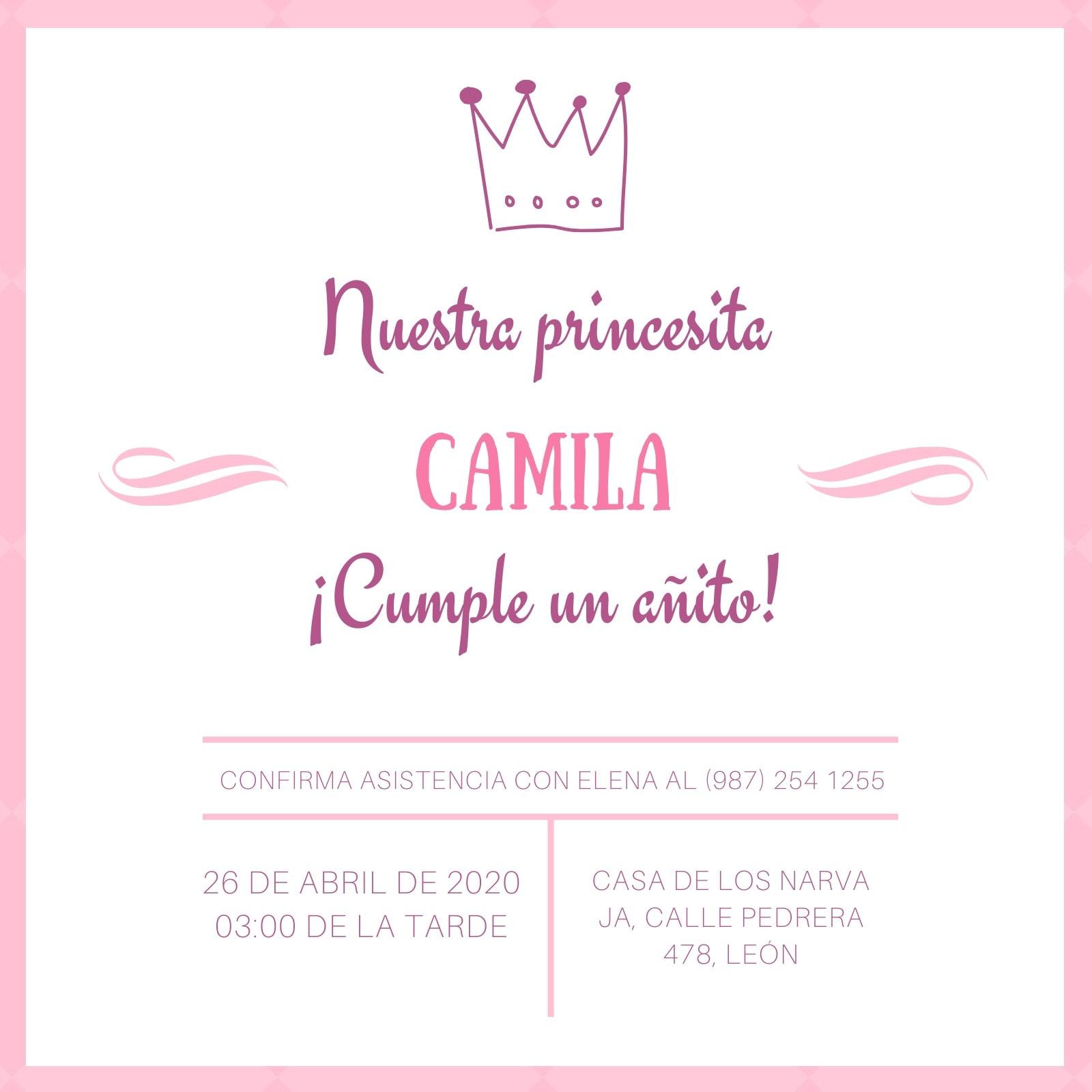 Rosa Corona Princesa Invitación