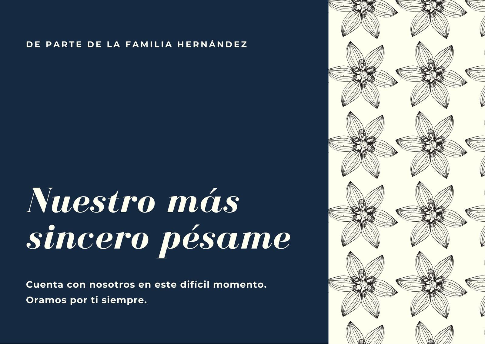Azul Marino Beige Floral Condolencias Tarjeta