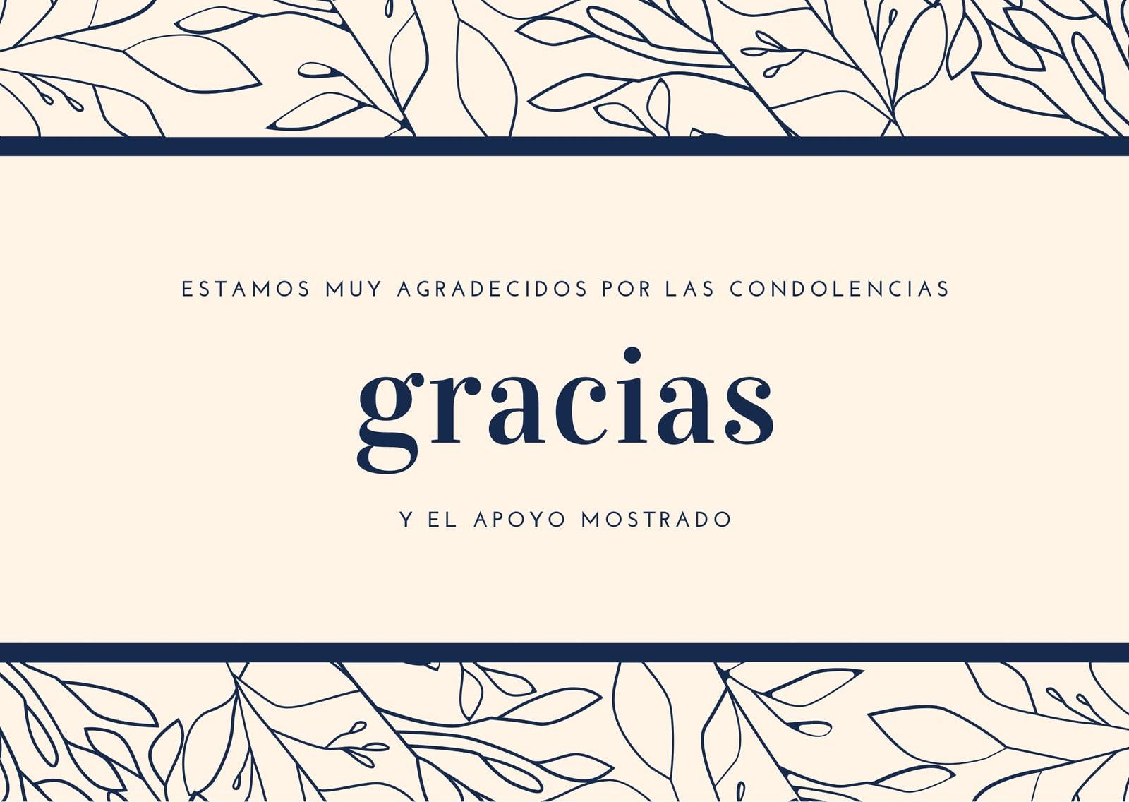 Crema y Azul Marino Hojas con Borde Condolencias Agradecimiento Tarjeta