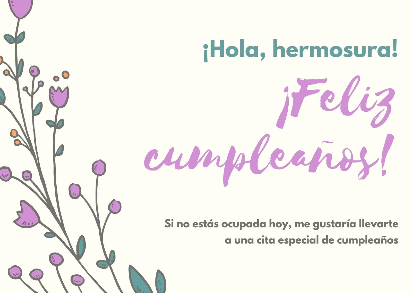 Crema Floral Novia Lindo Cumpleaños Tarjeta