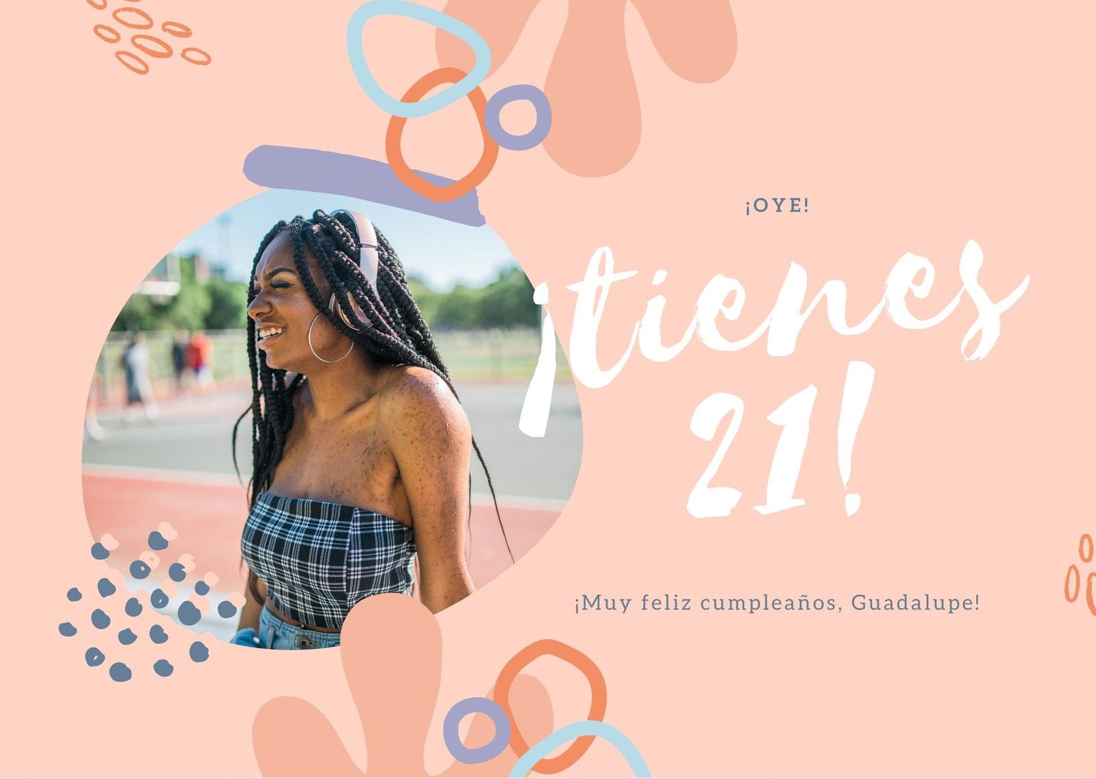 Naranja Foto de Mujer Cumpleaños Tarjeta